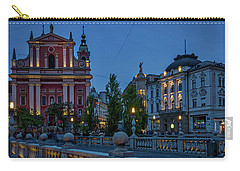 Carry-all Pouch featuring the photograph Dusk At The Triple Bridge - Slovenia by Stuart Litoff