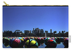 Carry-all Pouch featuring the photograph Dusk Finds The Spheres Of Macarthur Park by Lorraine Devon Wilke