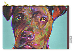 Carry-all Pouch featuring the painting Dutch, The Brindle Mix by Robert Phelps