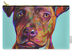 Carry-all Pouch featuring the painting Dutch, The Pit Bull Pup by Robert Phelps