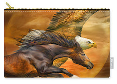 Carry-all Pouch featuring the mixed media Eagle And Horse - Spirits Of The Wind by Carol Cavalaris