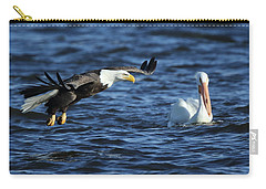 Carry-all Pouch featuring the photograph Eagle And Pelican by Coby Cooper