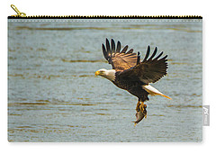 Carry-all Pouch featuring the photograph Eagle Departing With Prize Close-up by Jeff at JSJ Photography