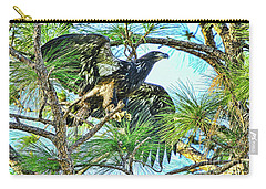 Carry-all Pouch featuring the photograph Eagle Fledgling 2017 by Deborah Benoit