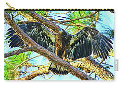 Carry-all Pouch featuring the photograph Eagle Fledgling II 2017 by Deborah Benoit