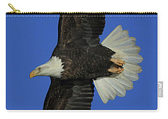 Carry-all Pouch featuring the photograph Eagle Flying Closeup by Coby Cooper