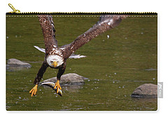 Carry-all Pouch featuring the photograph Eagle Fying With Fish by Debbie Stahre