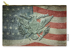 Carry-all Pouch featuring the digital art Eagle On American Flag by Randy Steele