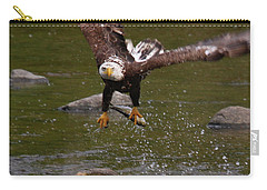 Carry-all Pouch featuring the photograph Eagle Over Seal Rock by Debbie Stahre