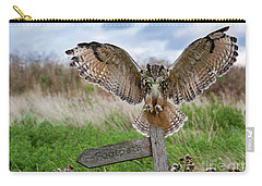 Eagle Owl On Signpost Carry-all Pouch
