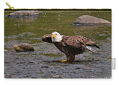 Carry-all Pouch featuring the photograph Eagle Prepares For Take-off by Debbie Stahre