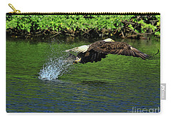 Carry-all Pouch featuring the photograph Eagle Series Fish Catch by Deborah Benoit