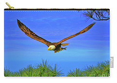 Carry-all Pouch featuring the photograph Eagle Series Through The Trees by Deborah Benoit