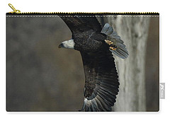 Carry-all Pouch featuring the photograph Eagle Soaring By Tree by Coby Cooper