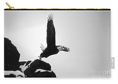 Carry-all Pouch featuring the photograph Eagle Takeoff At Adak, Alaska by John A Rodriguez