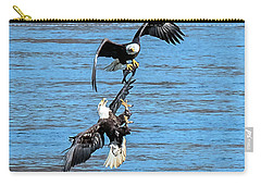 Eagle Trying To Steal A Fish Mid-air  Carry-all Pouch
