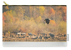 Carry-all Pouch featuring the photograph Eagle With Fish And Foliage by Jeff at JSJ Photography