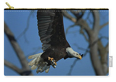 Carry-all Pouch featuring the photograph Eagle With Fish by Coby Cooper