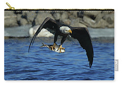 Carry-all Pouch featuring the photograph Eagle With Fish Flying by Coby Cooper