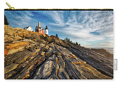 Carry-all Pouch featuring the photograph Early Morning At Pemaquid Point by Darren White