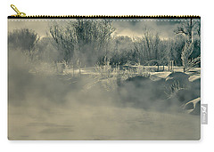 Carry-all Pouch featuring the photograph Early Morning Frost On The River by Don Schwartz