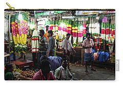 Carry-all Pouch featuring the photograph Early Morning Koyambedu Flower Market India by Mike Reid