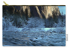 Carry-all Pouch featuring the photograph Early Morning Light On El Capitan During Winter At Yosemite National Park by Jetson Nguyen