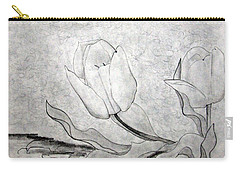 Carry-all Pouch featuring the drawing Early Spring Tulips by J R Seymour