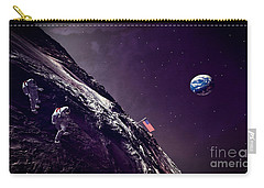 Carry-all Pouch featuring the digital art Earth Rise On The Moon by Methune Hively