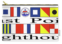 East Point Lighthouse Nautical Flags Carry-all Pouch by Nancy Patterson