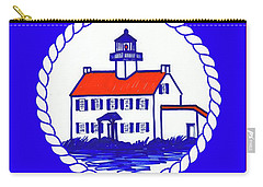 Carry-all Pouch featuring the mixed media East Point Lighthouse Road Sign by Nancy Patterson