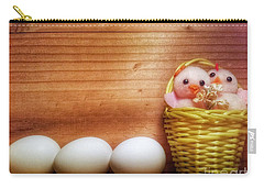 Easter Basket Of Pink Chicks With Eggs Carry-all Pouch