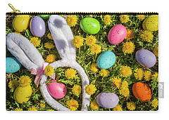 Carry-all Pouch featuring the photograph Easter Eggs And Bunny Ears by Teri Virbickis