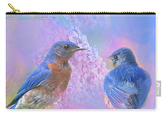 Carry-all Pouch featuring the photograph Eastern Bluebirds Watercolor Photo by Heidi Hermes