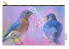 Eastern Bluebirds Watercolor Photo With Lilacs Carry-all Pouch