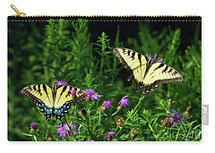 Carry-all Pouch featuring the photograph Eastern Tiger Swallowtail Butterfly - Female And Male  by Kerri Farley