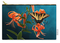 Eastern Tiger Swallowtail Butterfly On Orange Tiger Lily Carry-all Pouch