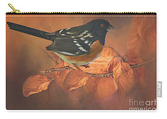 Spotted Towhee In Autumn Carry-all Pouch by Janette Boyd