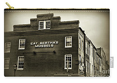 Eat Berthas Mussels In Black And White Carry-all Pouch by Paul Ward