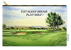 Carry-all Pouch featuring the painting Eat Sleep Dream Play Golf - Carnoustie Golf Course by Bill Holkham