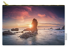 Carry-all Pouch featuring the photograph Ecola State Park Beach Sunset Pano by William Lee