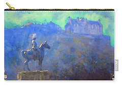 Carry-all Pouch featuring the painting Edinburgh Castle Horse Statue by Richard James Digance