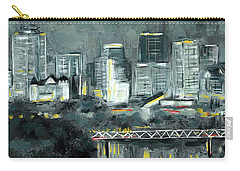 Carry-all Pouch featuring the mixed media Edmonton Cityscape Painting by Eduardo Tavares