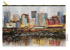 Carry-all Pouch featuring the mixed media Edmonton Skyline Abstract1 by Eduardo Tavares