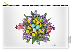 Eggs In Dandelions, Lilacs, Violets And Tulips Carry-all Pouch by Lise Winne