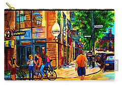 Carry-all Pouch featuring the painting Eggspectation Cafe On Esplanade by Carole Spandau