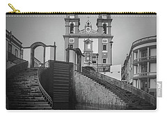 Egreja Da Mesericordia And The Gateway To Angra Do Heroismo In Black And White Carry-all Pouch by Kelly Hazel