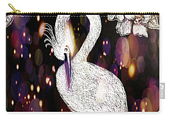 Carry-all Pouch featuring the drawing Egret 16-01d by Maria Urso