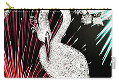 Carry-all Pouch featuring the drawing Egret 16-02d by Maria Urso
