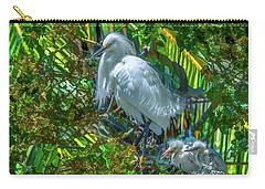 Egret And Chicks Carry-all Pouch